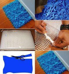Homemade Bath Rug - DIY Tshirt yarn craft //alldaychic.com