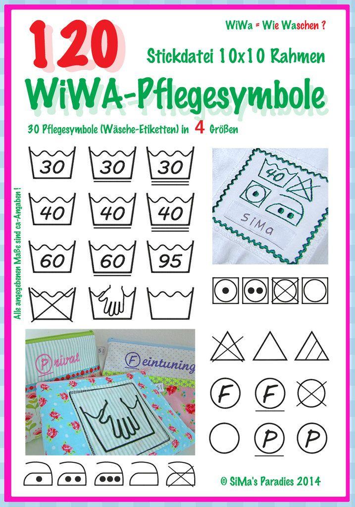 WiWa-Pflegesymbole (Wäscheetiketten) - 10 x 10 | Renov Waschhaus ...