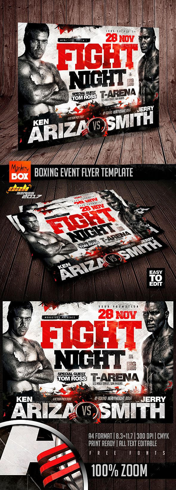 Flyer Samples For An Event Boxing Event Flyer Template  Pinterest  Event Flyer Templates .