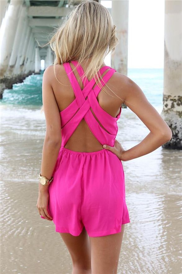 Stylish Lady Women's Sexy Deep V-neck Sleeveless Cross Strap Jumpsuit Cut Up Hollow Out Rompers