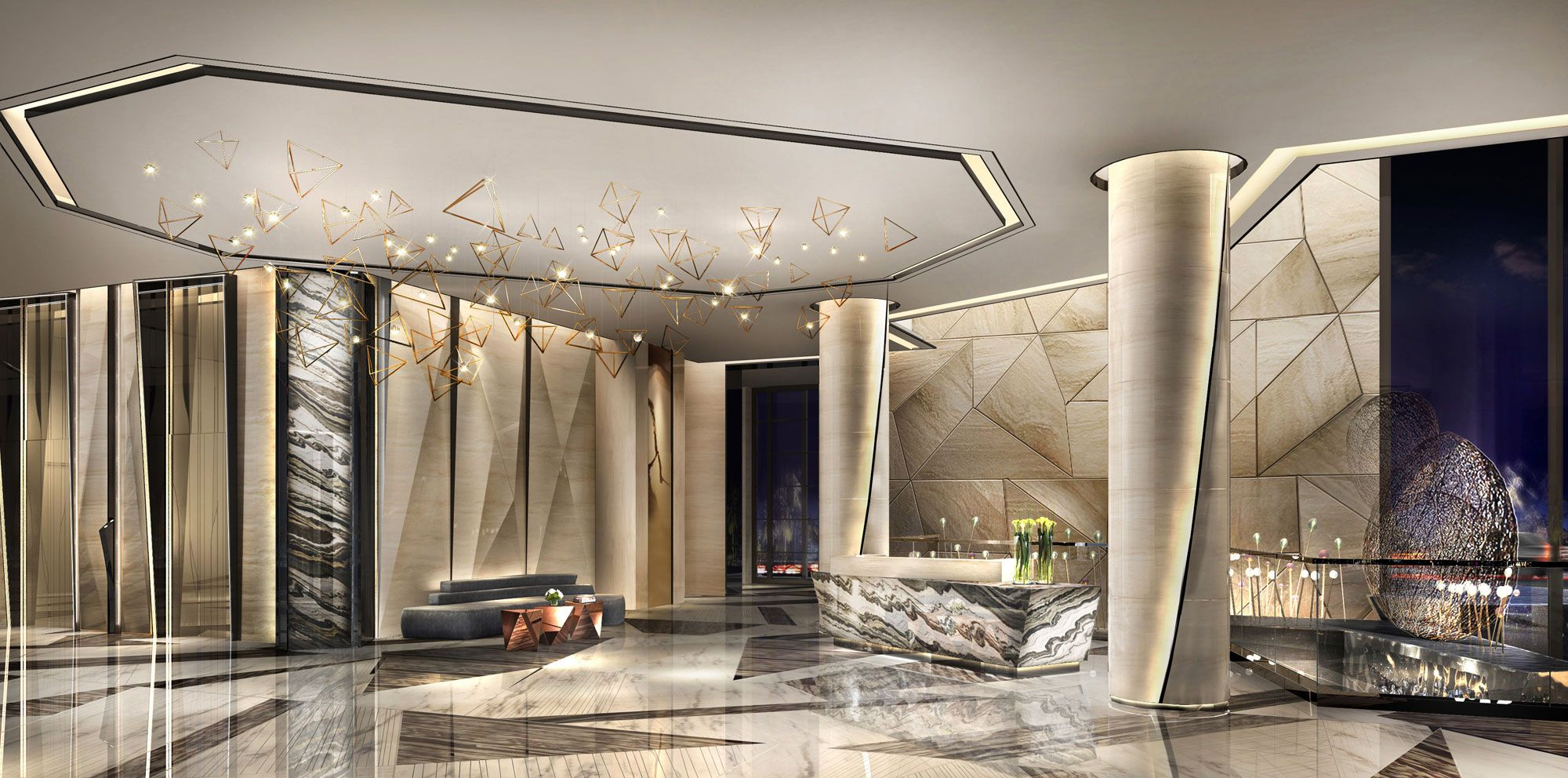 Modern entrance lobby design google barcelona foyer for Moderne hotels