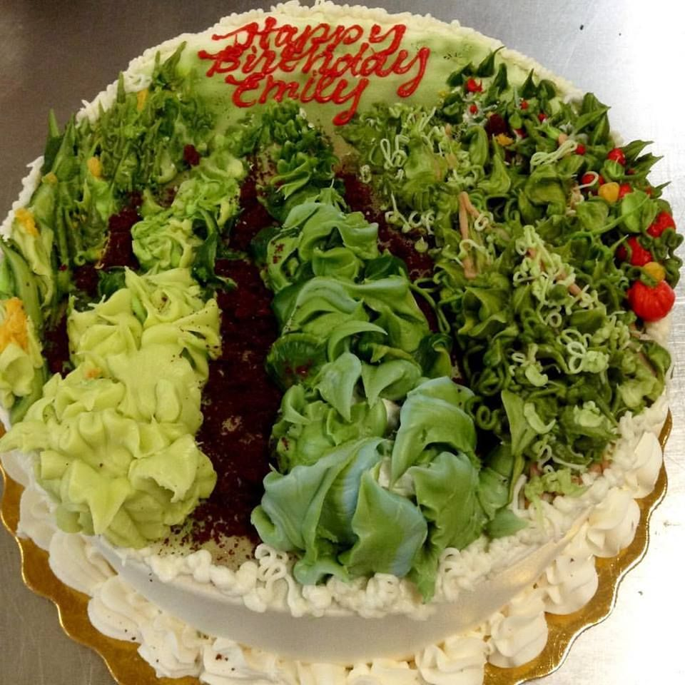 Buttercream vegetable garden cake (With images) | Garden ...