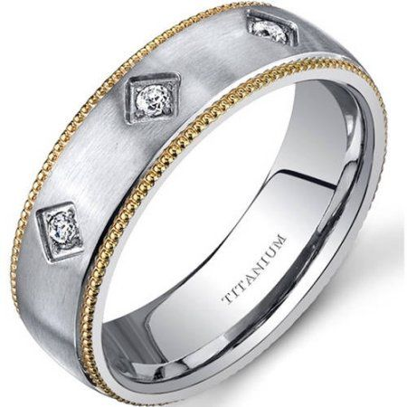 Oravo 6.0mm Men's Yellow-Tone Titanium Wedding Band Ring, Size: 8.5