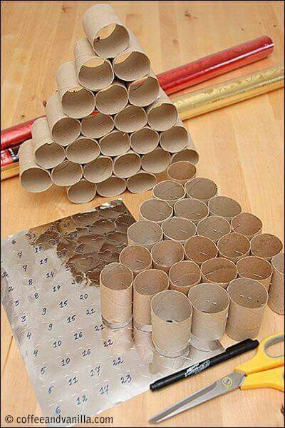 DIY Christmas Calendar Made from Upcycled Kitchen Roll Tubes