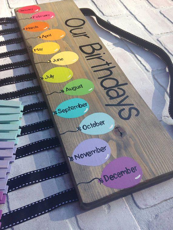 Birthday chart balloons - class birthdays - classroom decor - rainbow classroom - colorful classroom - kindergarten class - teacher gift #classroomdecor