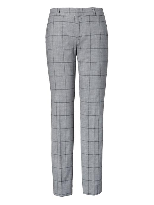 379f5be1f418 Banana Republic Womens Avery Straight-Fit Windowpane Lightweight Wool Ankle  Pant Gray