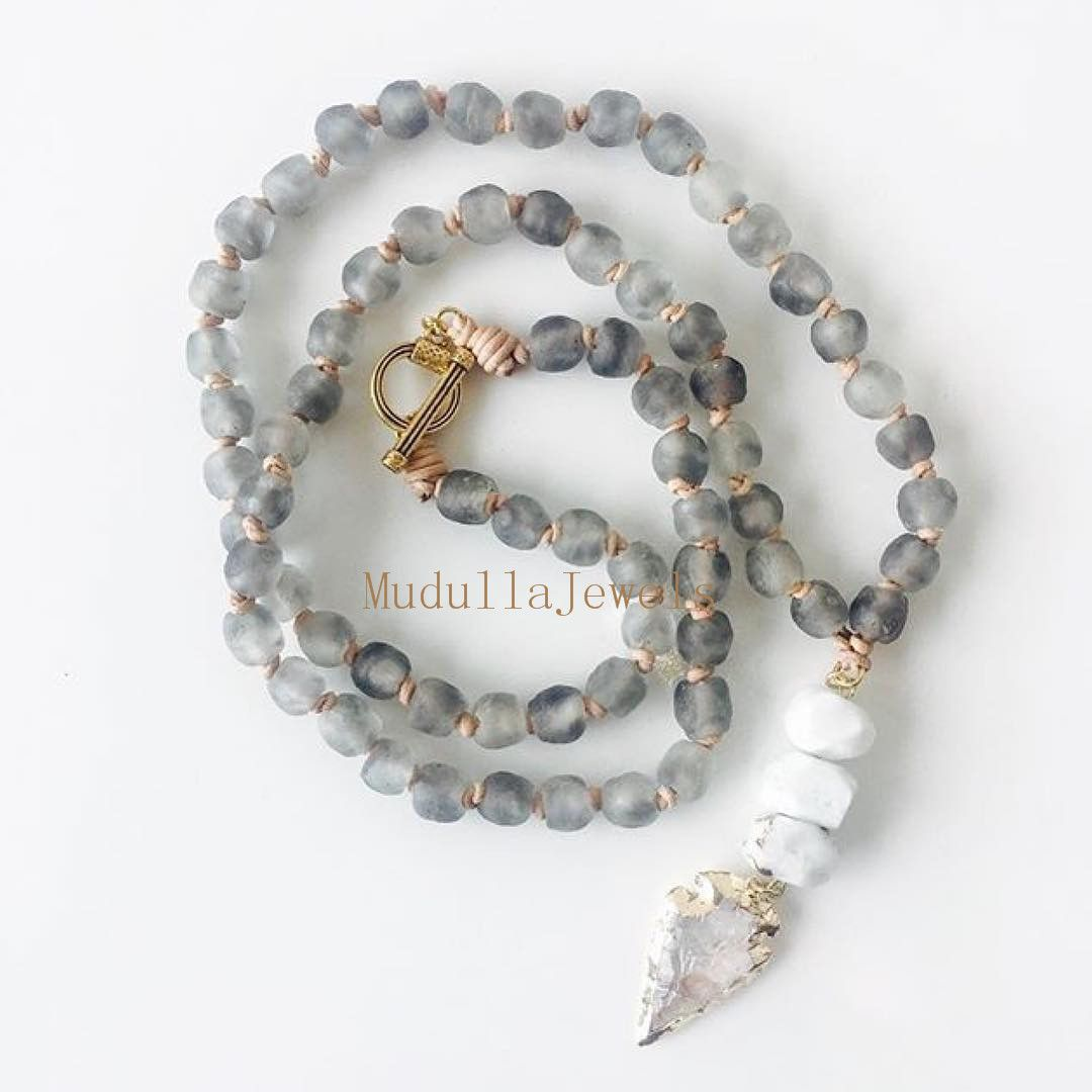 N17061516 Latest Design African Glass Beads Necklace Jewelry ...