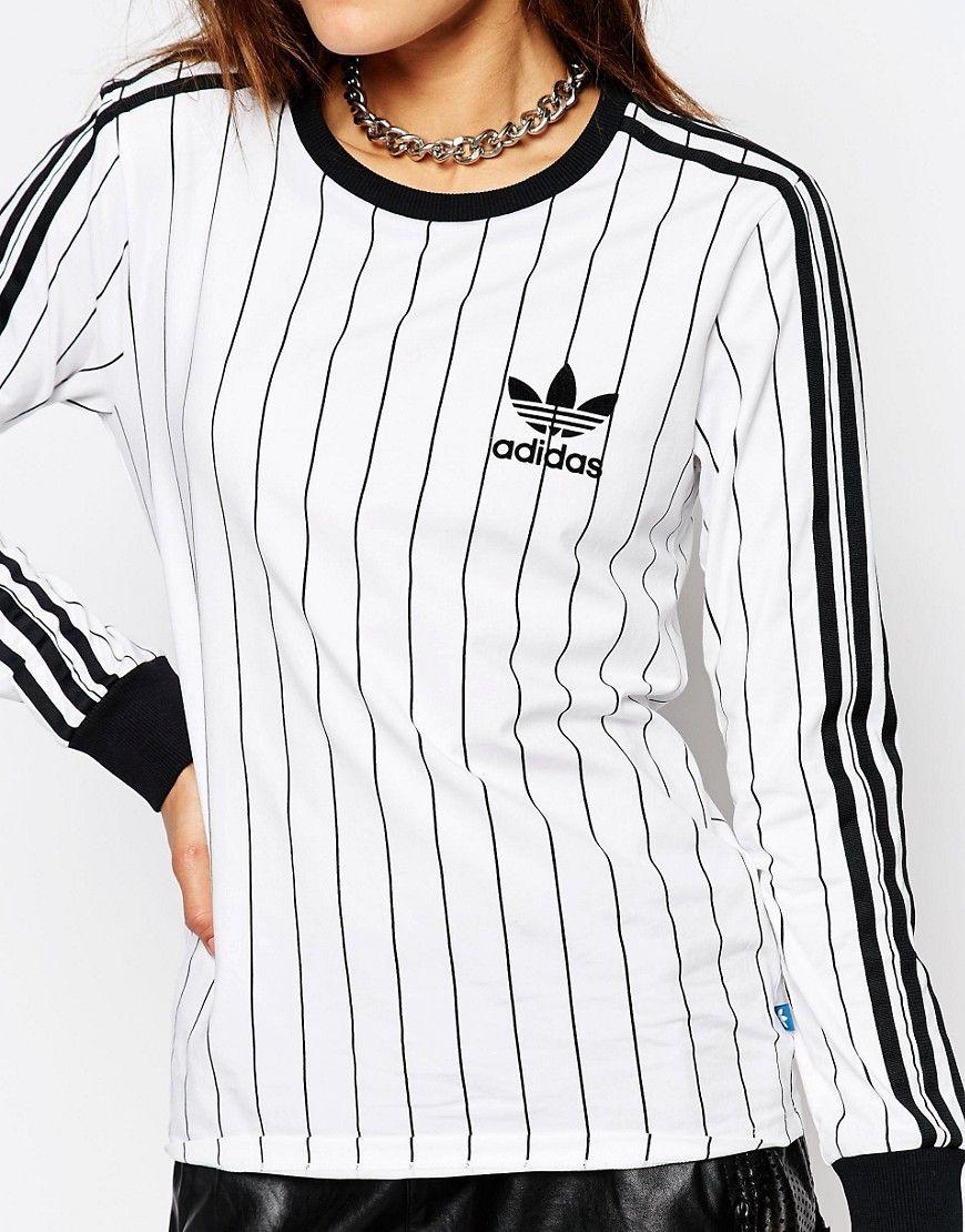 adidas striped long sleeve shirt