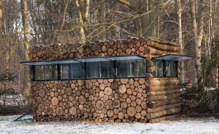 Tree Trunk Garden House Piet Hein Eek Log Shed Log Homes Cabin Design