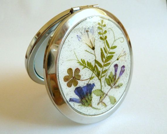 Mirror with real flowers dried pressed flower in by FloraBeauty, $25.00