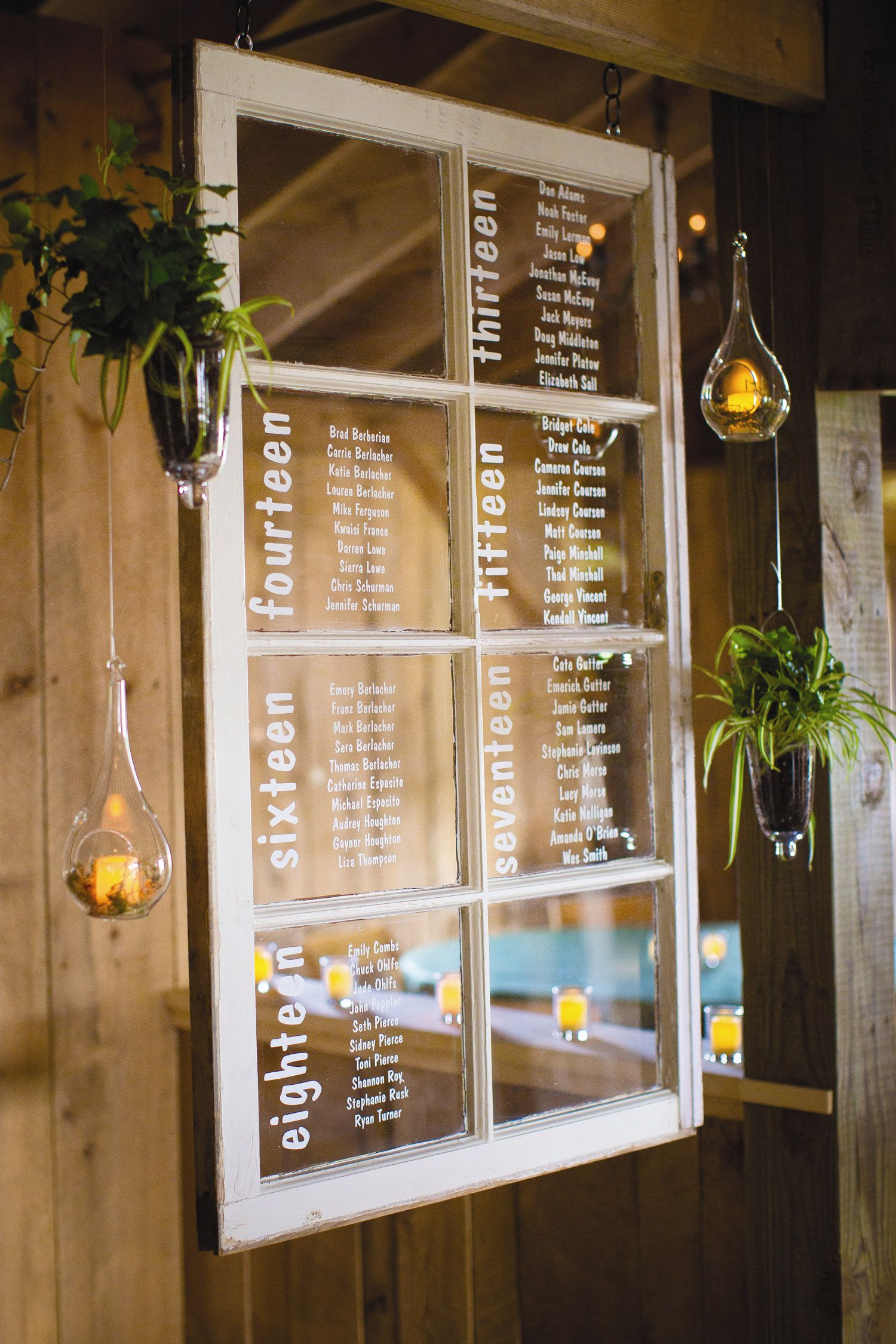 Rustic Window Seating Chart From Wedding At Snow Moon Ranch In Maple City Michigan