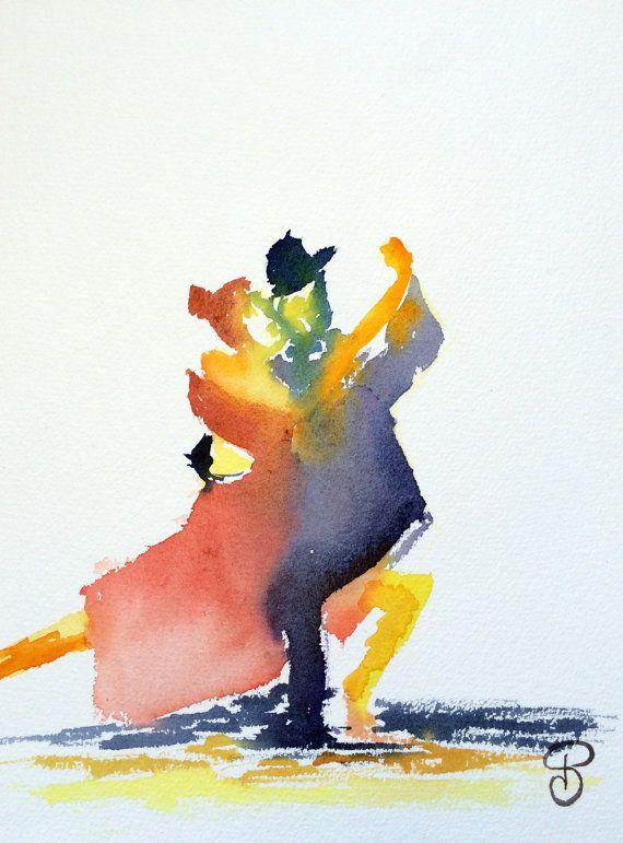 Printing Tango Dance Painting Watercolor Dancers Art Art
