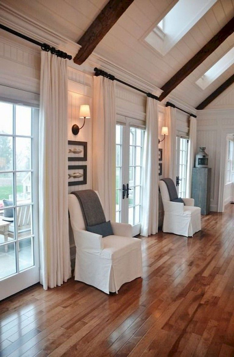 90+ Awesome Modern Farmhouse Curtains for Living Room ... on Farmhouse Curtain Ideas For Living Room  id=15995