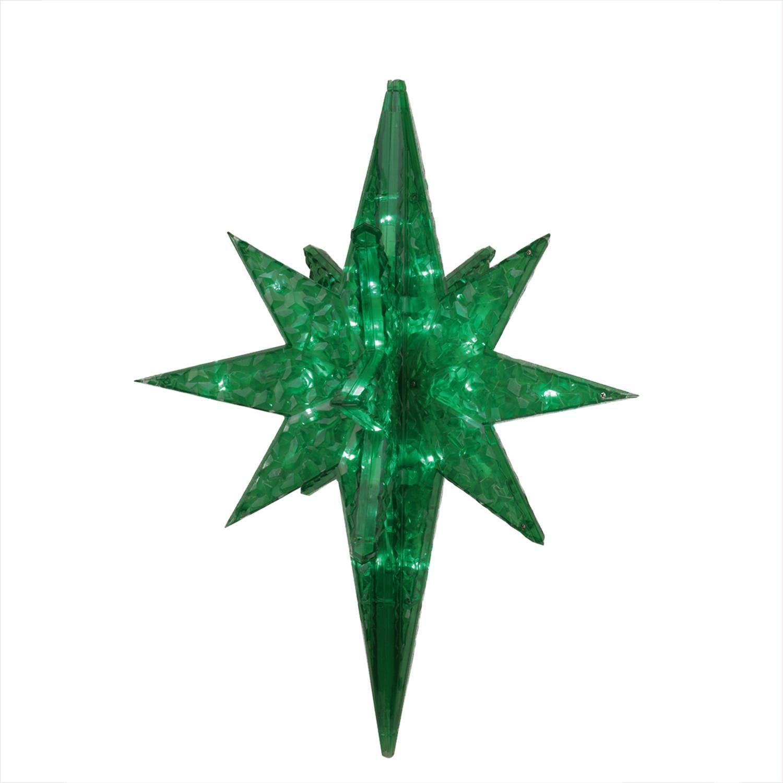 19 Led Lighted Green Twinkling 3D Bethlehem Star Hanging Christmas