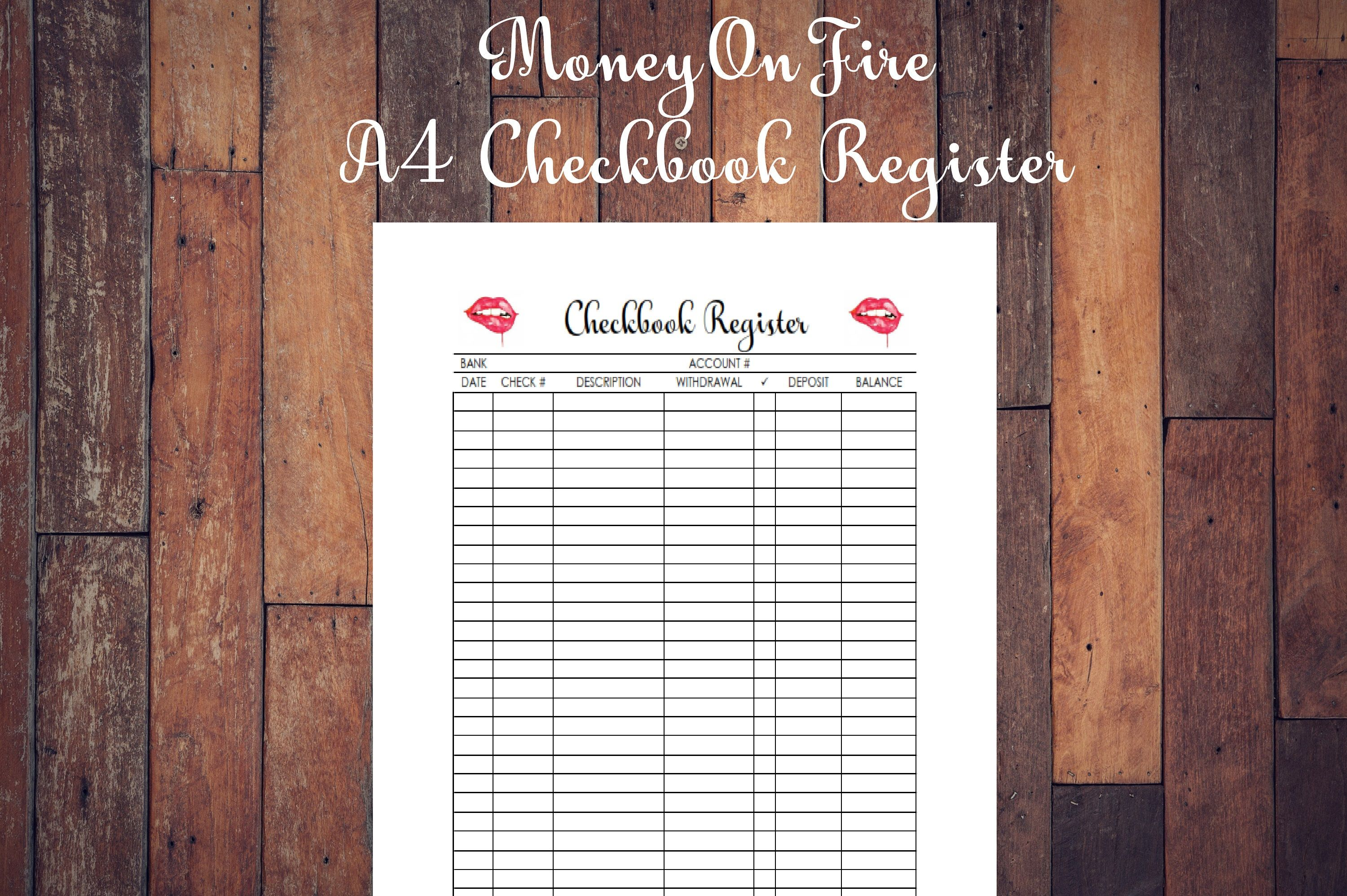 Checkbook Register Printable Etsyfind Etsyfinds
