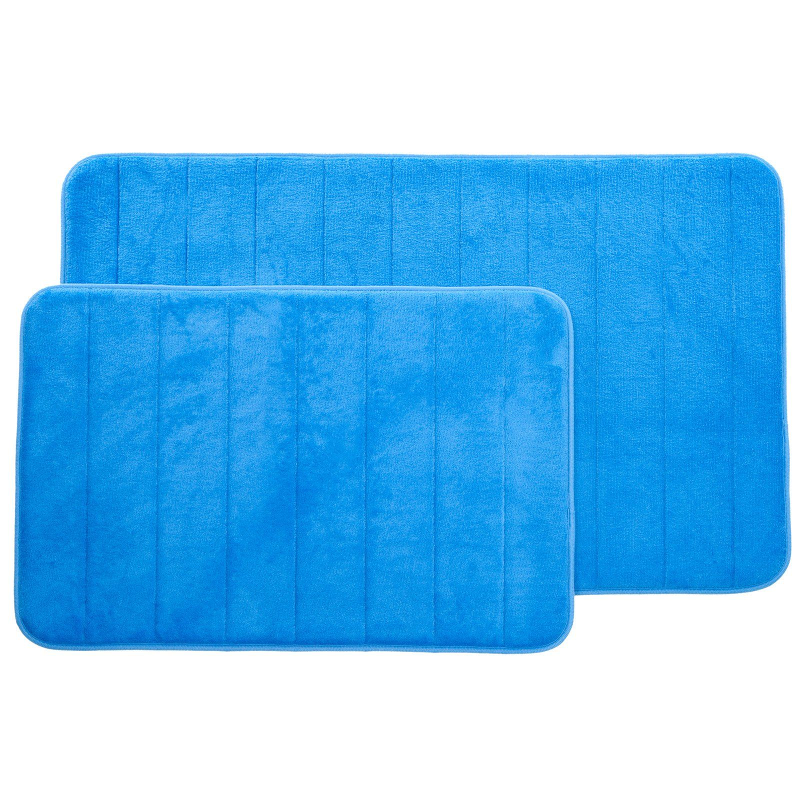 Lavish Home Memory Foam Striped Bath Mat Set Set Of 2 Blue