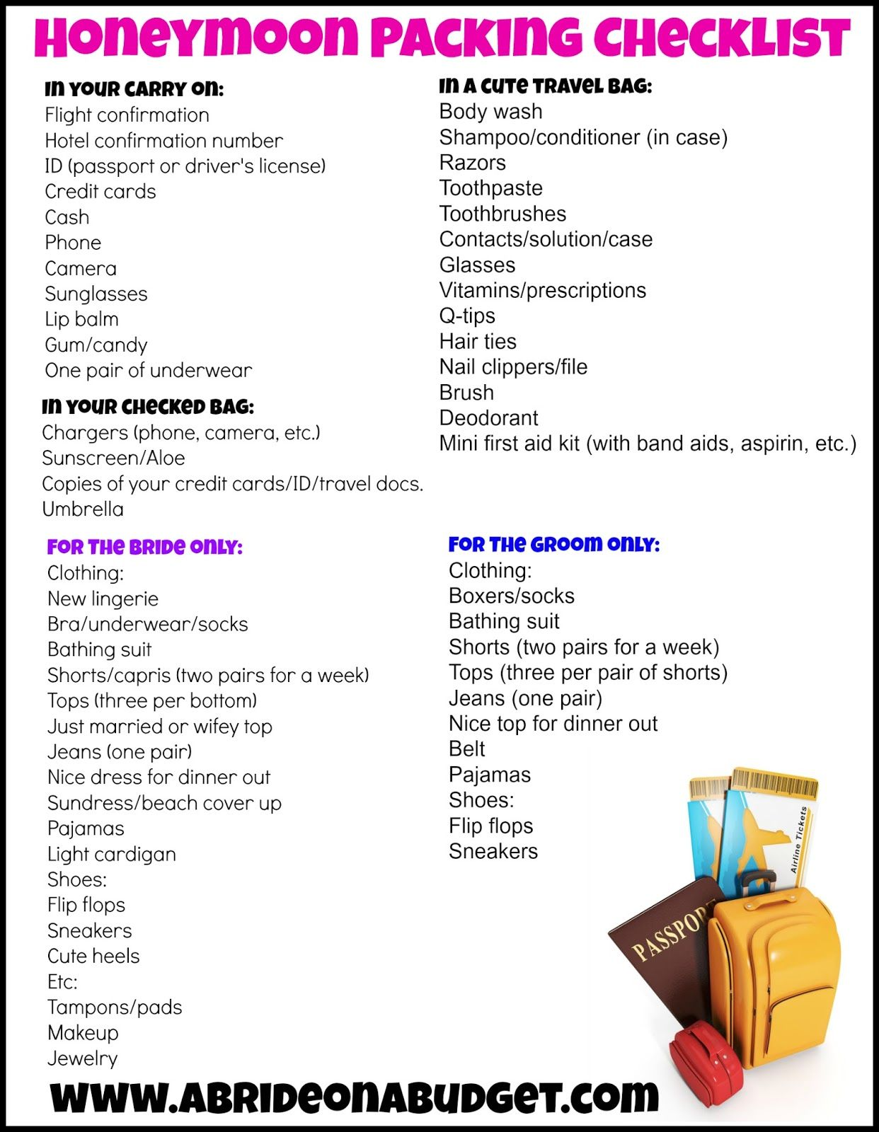 Honeymoon Packing Checklist With A Free Printable Honeymoon Packing Checklist Honeymoon Packing Honeymoon Packing List
