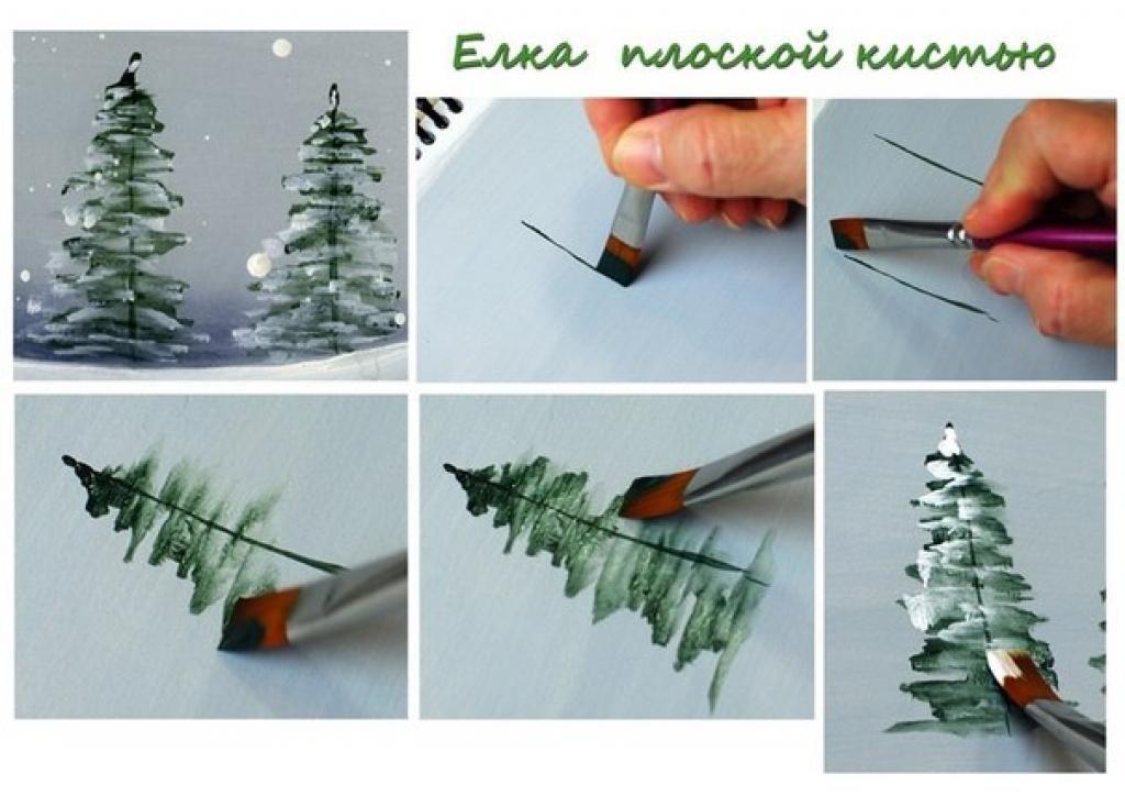 4 Mini tutoriels pour peindre des sapins d\u0027hiver! Noël Pinterest