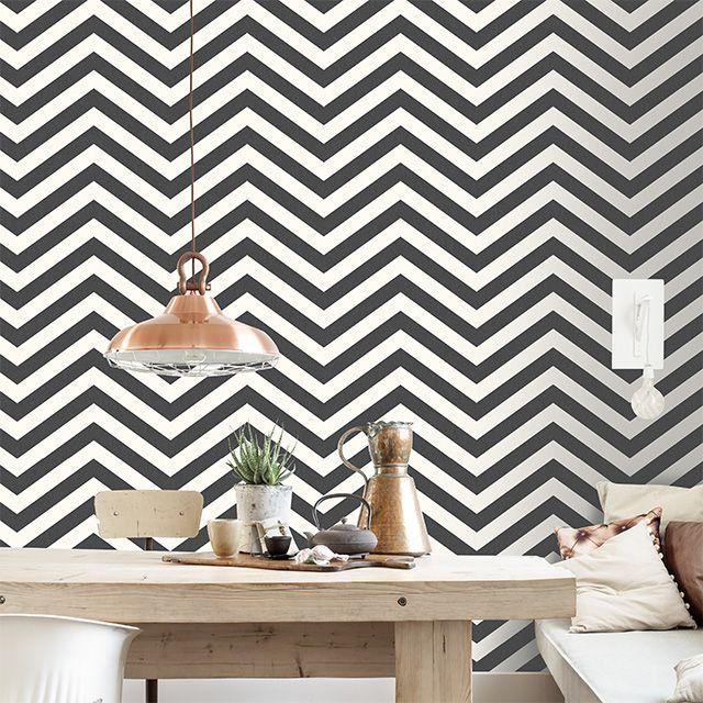 papier peint expans sur intiss lutece art chevron noir salon interior design interior. Black Bedroom Furniture Sets. Home Design Ideas