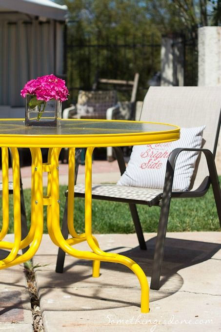 Hello Sunshine Painted Patio Table Patio Furniture Makeover