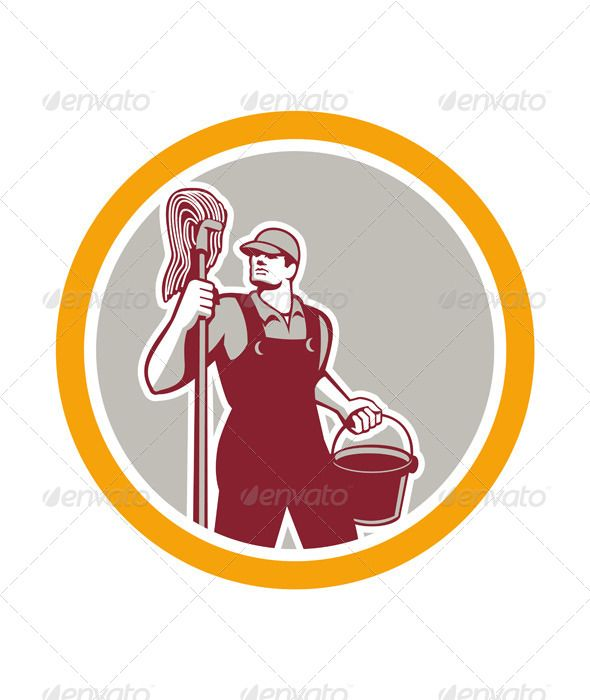 Janitor Holding Mop And Bucket In Circle