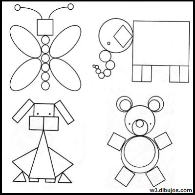 Resultado De Imagen Para Animales Con Tecnica De Figuras Ejercicios De Figuras Geometricas Imagenes Con Figuras Geometricas Actividades De Figuras Geometricas