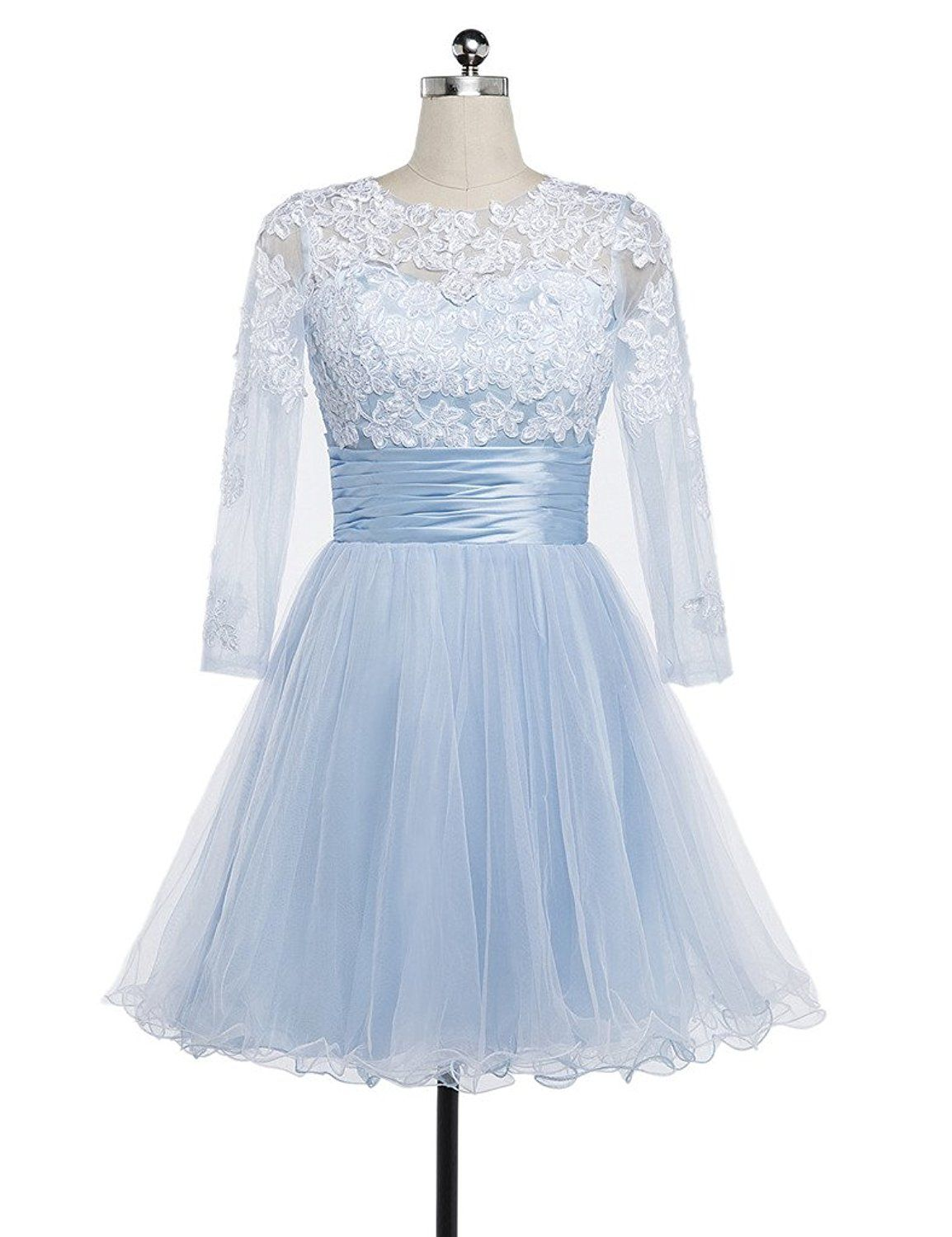 Charmingbridal full sleeve light blue prom dress short homecoming