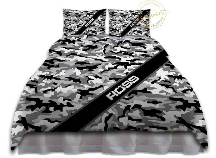 Gray Camo Bedding Duvet Cover Black And White Snow Camouflage