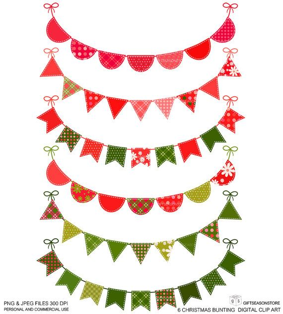 6 christmas bunting digital clip art for personal and commercial use rh pinterest com christmas clipart banners Ribbon Clip Art Christmas