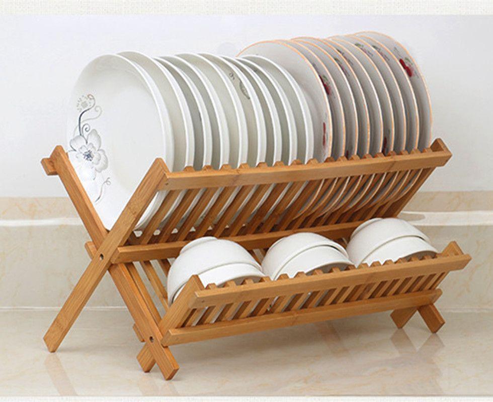 2 levels bamboo folding dish rack dish