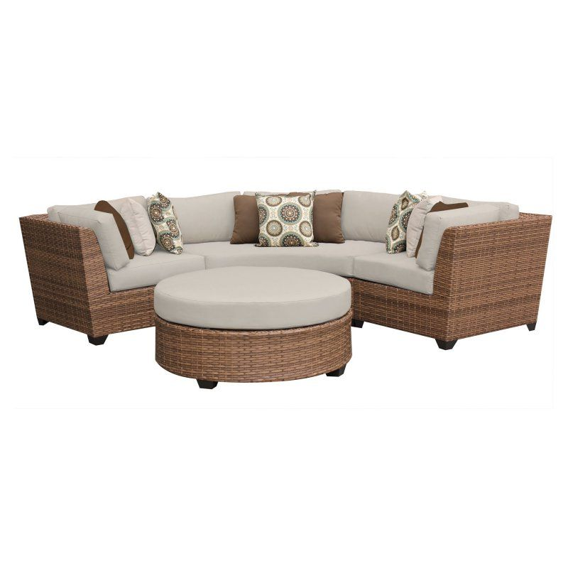 Outdoor TK Classics Laguna Wicker 4 Piece Patio Conversation Set with Coffee Table and 2 Sets of Cushion Covers - LAGUNA-04A-BEIGE