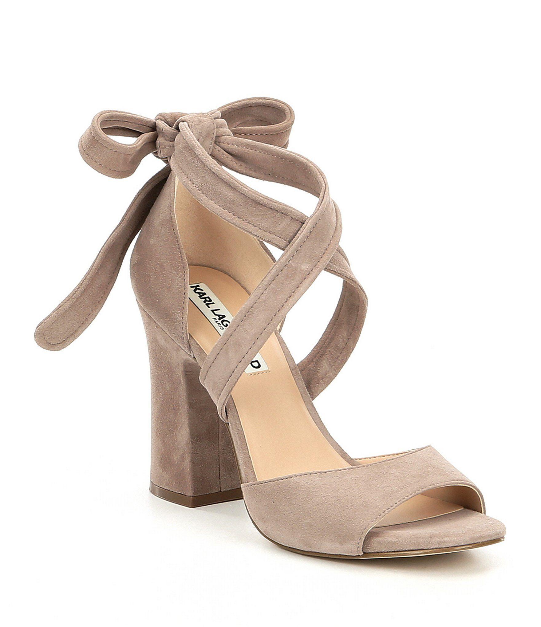 5a0118db895 KARL LAGERFELD PARIS Racha Suede Ankle Tie Block Heel Dress Sandals   Dillards