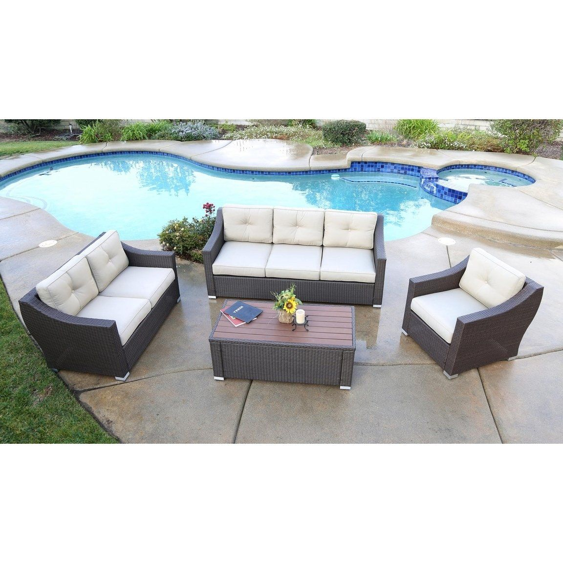 South Beach 4 Pieces Deep Seating Set Brown Outdoor Patio