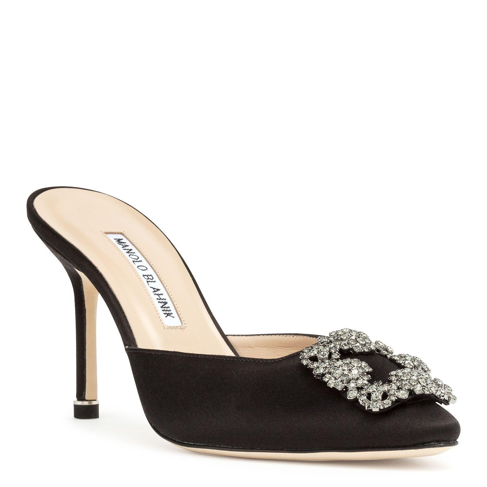Manolo Blahnik Hangisimu 90 Black Satin Mules Manoloblahnik Shoes Manoloblahnikheels Manolo Blahnik Manolo Blahnik Heels Blahnik