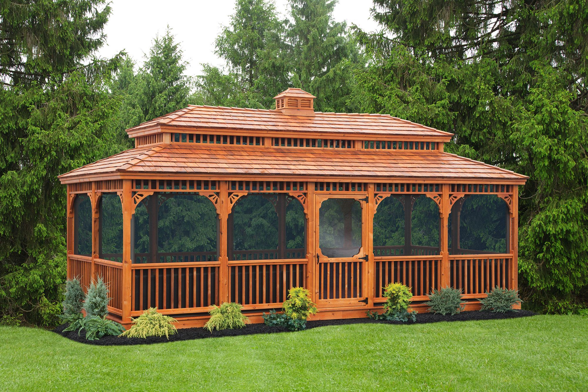 12 X24 Cedar Rectangle Victorian Gazebo W Optional