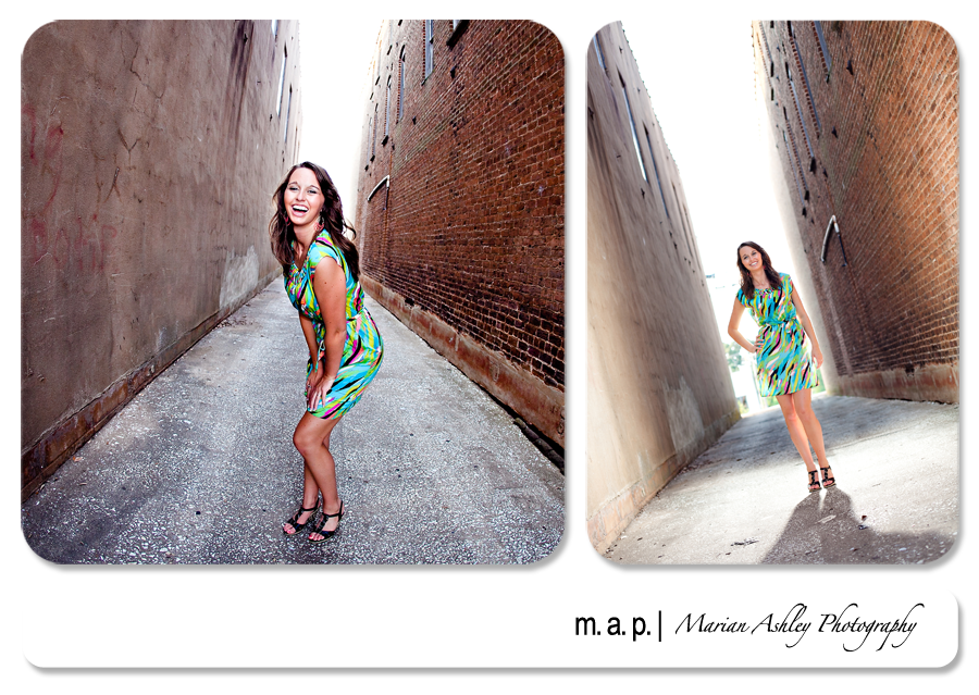 www.marianashleyphoto.com | High School Seniors | Green Dress | Back Lighting | Alley Photos