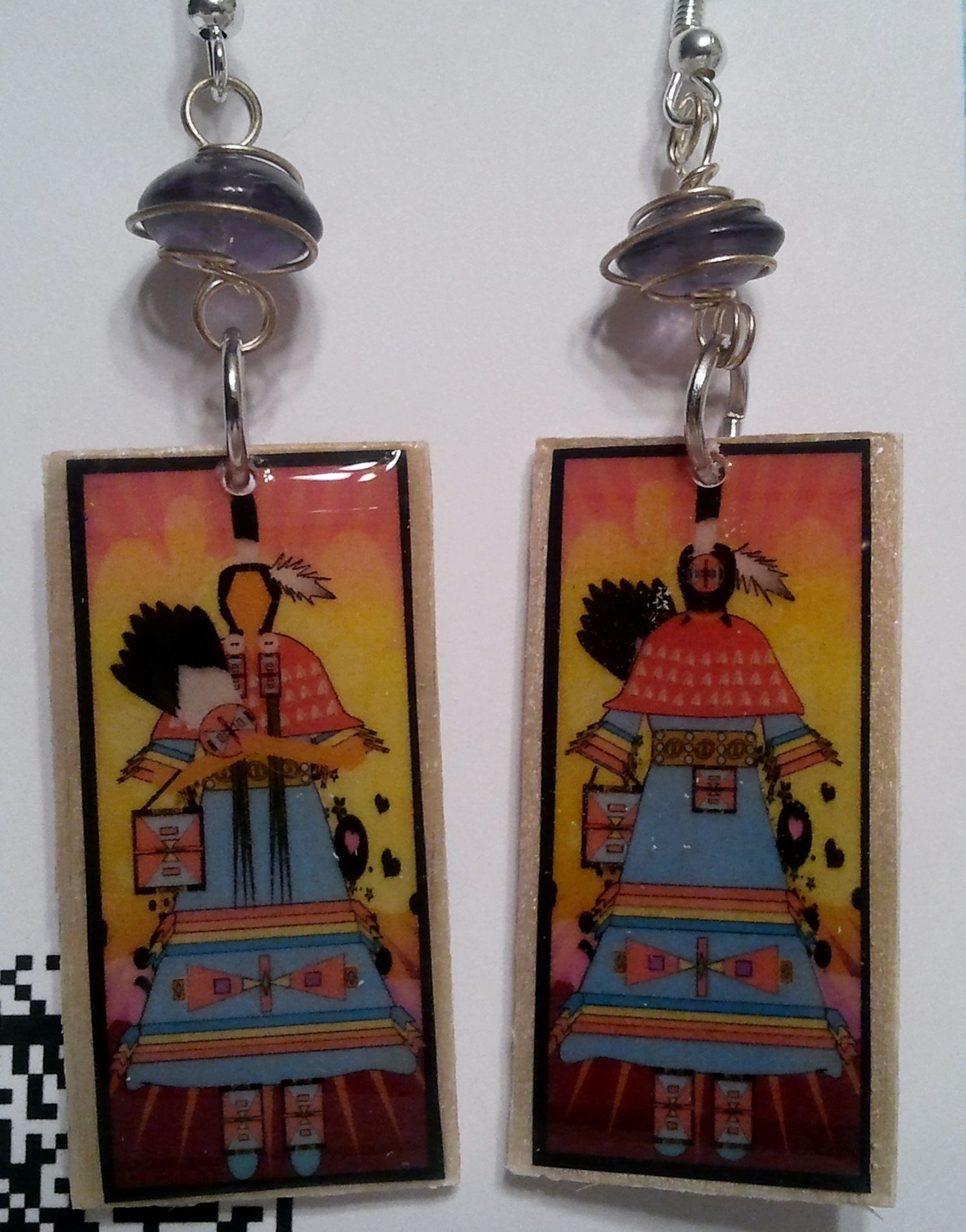 ladies traditional earrings round dance blues randy wood