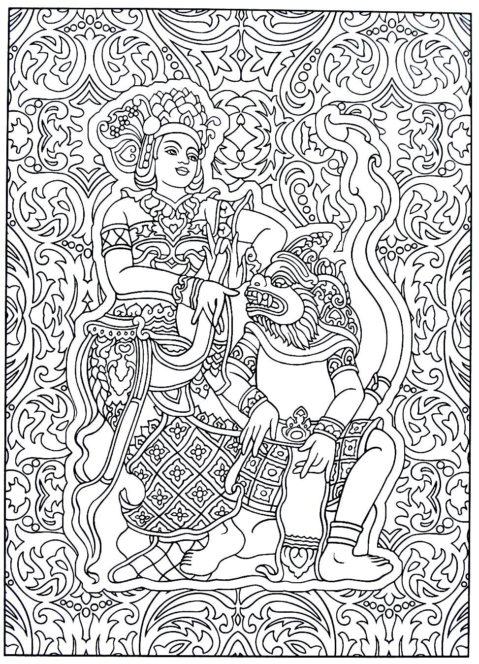 Traditional Thai Image India And Thailand Culture Coloring Book