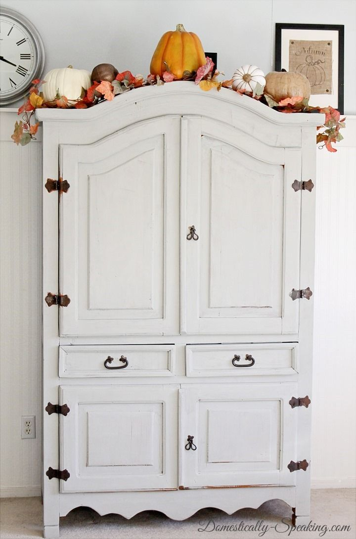 Old, Free Armoire gets a stunning makeover with Gray Paint #Armoire ...