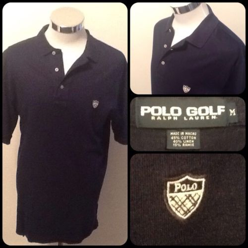 "Polo Golf/Ralph Lauren-Medium-Men's Linen Blend Golf Shirt-Navy w/ ""Polo""Shield"