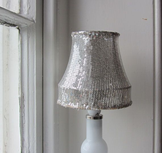 Small Silver Sequin Lampshade Recycled Upcycled Repurposed Etsy Grey Lamp Grey Lamp Shades Lamp Shade