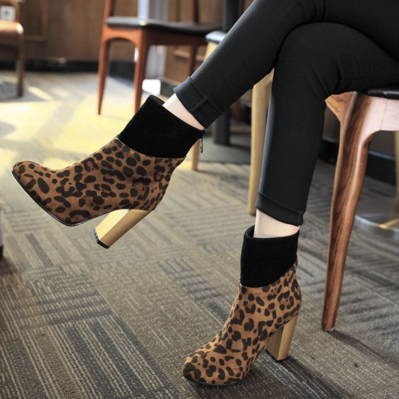6ddd561d700 Shoespie Back Zip Chunky Heel Patchwork Leopard Ankle Boot