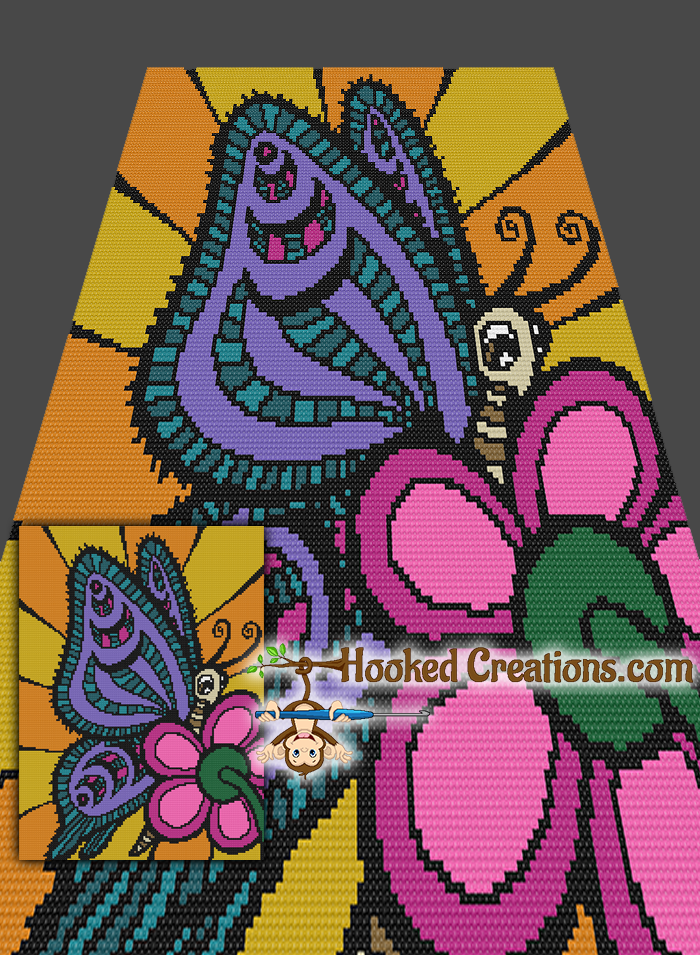 """Garden Butterfly Mini C2C (Modified Corner to Corner) Twin Sized Blanket Graphghan Crochet Pattern is part of Corner Butterfly garden - Garden Butterfly Mini C2C Twin Sized Blanket Crochet Pattern All of our graph patterns include a full size color with symbols graph, written instructions, and color blocks  So whether you prefer to work from a graph or hate the counting and like it written out for optimum black & white or color printing this pattern has all options  All of our patterns also come complete with recommended yarn types, colors and amounts  Supplies needed for this pattern 4 Ply Worsted Weight Yarn   Recommended Red Heart Super Saver  Black, White, Pumpkin, Gold, Patty Green, Shocking Pink, Pretty n Pink, Real Teal, Jade, Lavender, Warm Brown, Buff Size I   5 25mm Crochet hook Tapestry Needle Finished size approx  66"""" x 90"""" using the materials stated in the pattern  This listing is for a digital pattern only  The PDF file of the pattern will be available for instant download once payment is confirmed  If you have any questions about the pattern or the download process, please contact us  Due to this product being available for instant download, no refunds are available  This listing is for the pattern only, NOT the finished product"""