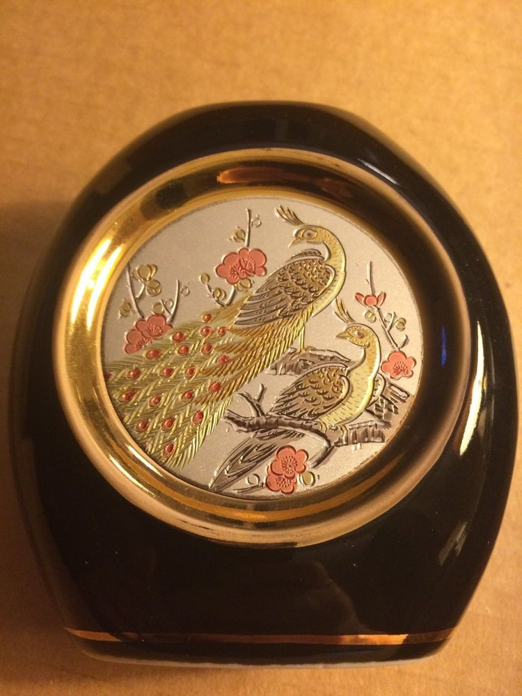 The Art Of Chokin Peacock Design Vase 24k Gold Edged Made In Japan