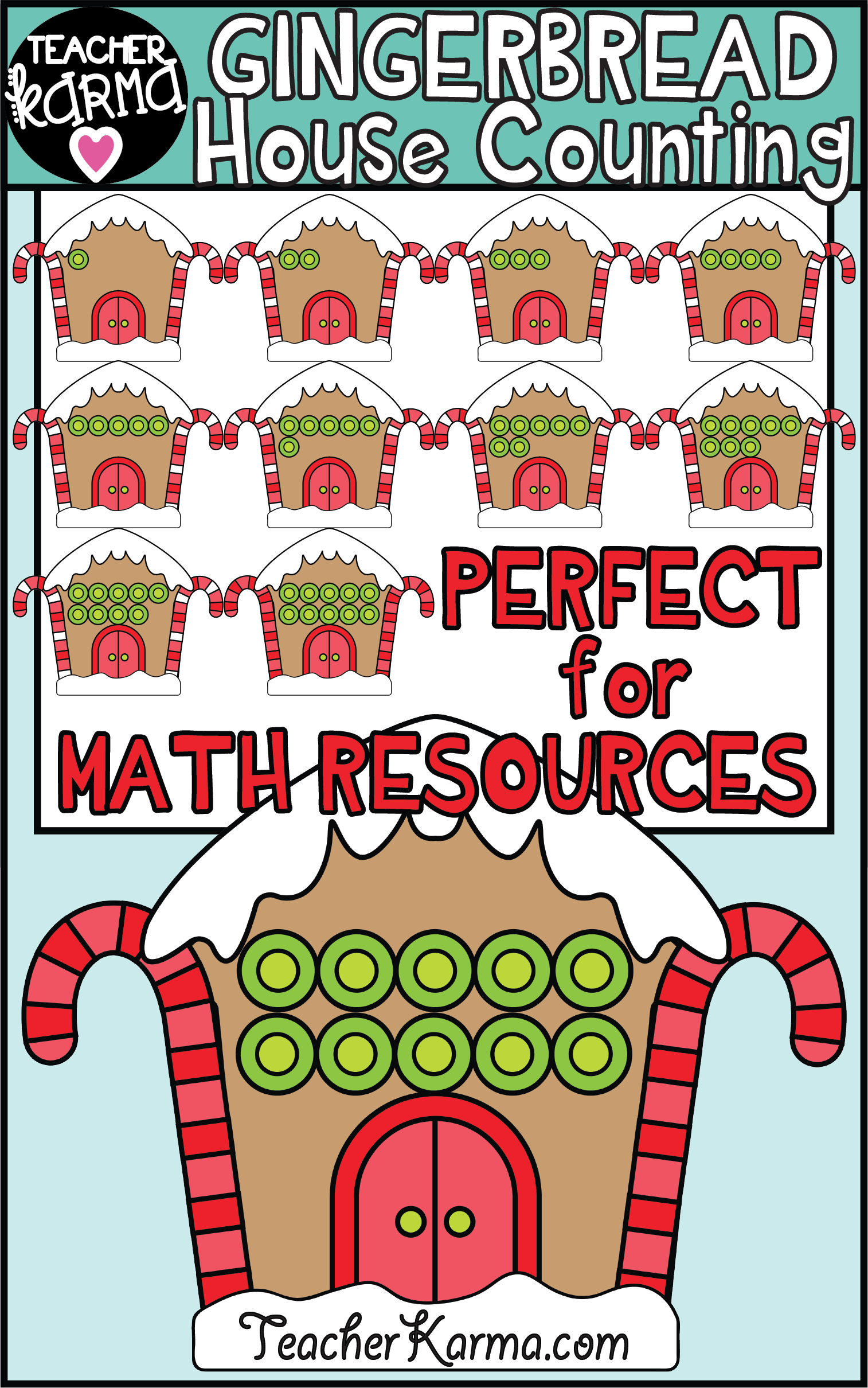 gingerbread house math clipart for counting and number sense these graphics are perfect for your math resources this christmas and holiday season  [ 1514 x 2420 Pixel ]
