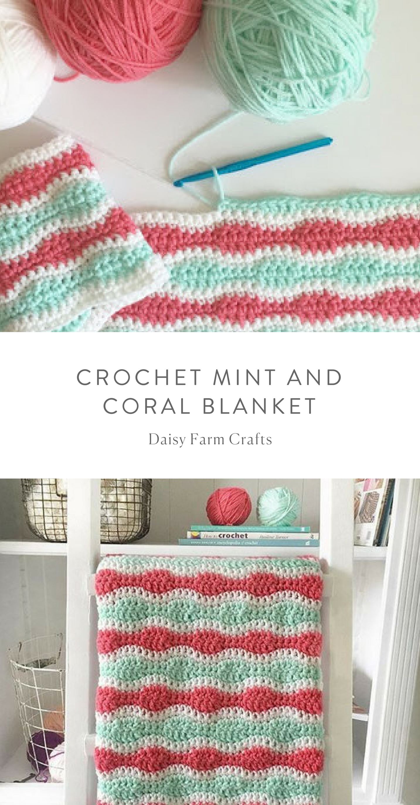 Free Pattern - Crochet Mint and Coral Blanket | babys | Pinterest ...