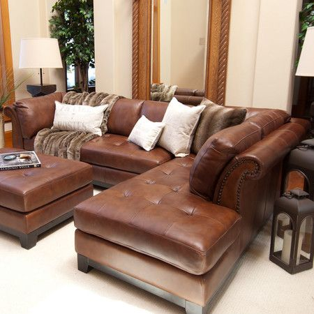 Tufted Leather Sectional Sofa In Bourbon With A Hardwood