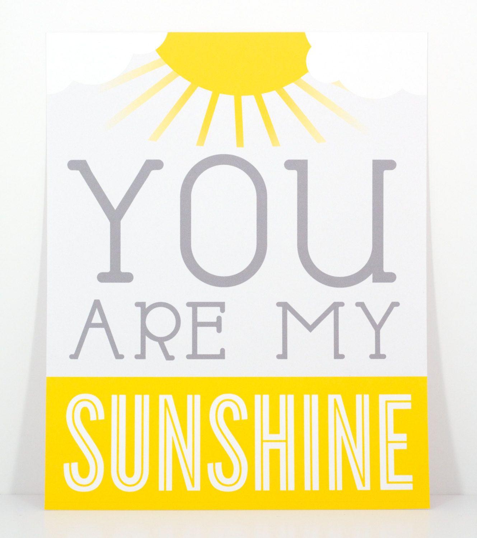 Sunshine - Yellow & Gray You Are My Sunshine Wall Art Print (DIY ...