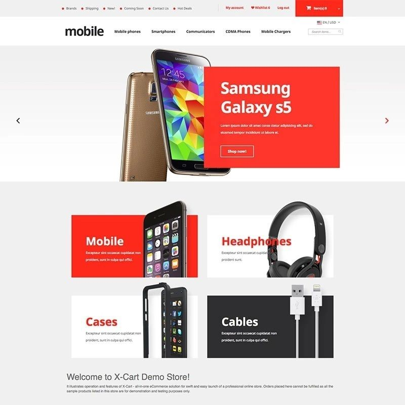 Responsive Mobile Phones X-Cart Template. Neat and elegant, this ...