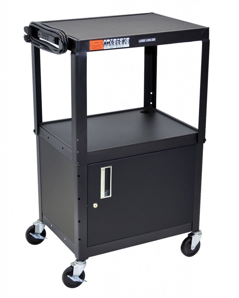 Kitchen cart metal - Luxor 42 Adjustable Height Metal Cart With Cabinet Electronic Consumers
